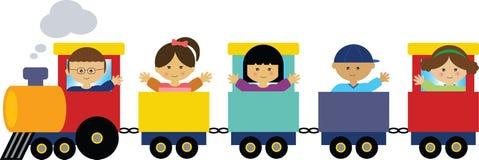 Enfants sur le train Images libres de droits