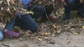 Enfants tenant le feuillage jaune d'automne leurs mains banque de vidéos