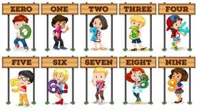 Enfants tenant le numéro zéro neuf Photo stock