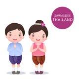 Enfants thaïlandais de bande dessinée dans le costume traditionnel et le Sawasdee Photos libres de droits