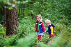 Enfants trimardant en parc d'automne Photos libres de droits