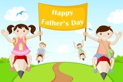 Enfants volant avec la bannière heureuse du jour de père Images stock