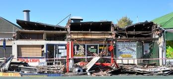 Enfer à emporter, dommages de séisme de Christchurch Photographie stock libre de droits