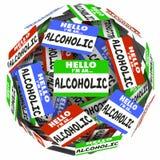 Enfer je suis un programme d'étape du groupe 12 d'autonomie d'étiquettes de nom d'alcoolique illustration libre de droits