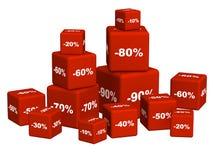 enferme dans une boîte des marchandises de discoun rouges Photos libres de droits