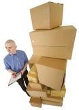 enferme dans une boîte la pile de courier de carton photographie stock libre de droits
