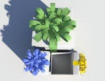 enferme dans une boîte la première vue de cadeau Photos libres de droits