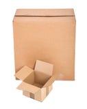 enferme dans une boîte le blanc du carton deux Photo libre de droits