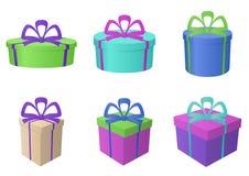 Enferme dans une boîte les formes multicolores et différentes Photo libre de droits