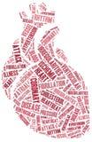 Enfermedad cardíaca de la nube de la palabra relacionada Fotos de archivo libres de regalías