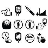 Enfermedad de la diabetes, iconos de la salud fijados libre illustration