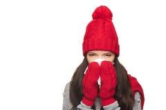 Enfermedad de la mujer del invierno Fotografía de archivo