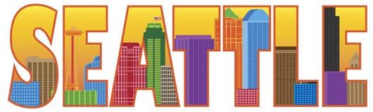 Enfermedad del vector del color del esquema del texto del horizonte de la ciudad de Seattle Fotos de archivo libres de regalías