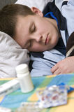 Enfermedad en cama Imagen de archivo libre de regalías