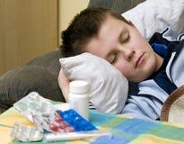Enfermedad en cama Fotografía de archivo libre de regalías