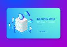 Enfermedad plana isométrica del vector de la protección de datos de la seguridad stock de ilustración