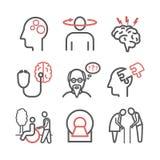 Enfermedad y demencia del ` s de Alzheimer síntomas Línea iconos fijados Muestras del vector para los gráficos del web ilustración del vector