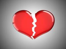 Enfermedad y dolor. Corazón quebrado rojo Imagen de archivo libre de regalías