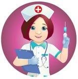 Enfermeira agradável com uma seringa Foto de Stock