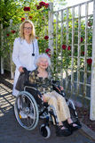 Enfermeira Assisting Elderly Woman dos jovens na cadeira de rodas fotografia de stock