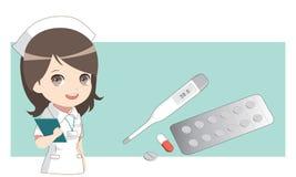 Enfermeira com medicinas Termômetro e comprimidos, cápsula Foto de Stock