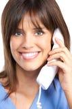 Enfermeira com telefone Fotografia de Stock
