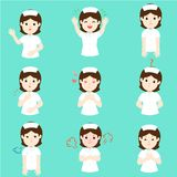 Enfermeira com vetor diferente dos desenhos animados das emoções imagens de stock royalty free