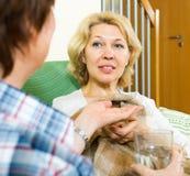 A enfermeira dá um comprimido de sono à mulher Fotografia de Stock Royalty Free