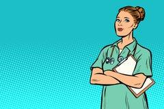 Enfermeira do pop art Medicina e saúde ilustração royalty free