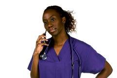 Enfermeira do telefone de pilha Foto de Stock Royalty Free
