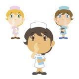 A enfermeira dos desenhos animados está pensando, três cores Foto de Stock Royalty Free