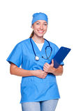 Enfermeira dos jovens com placa de grampo Fotografia de Stock Royalty Free