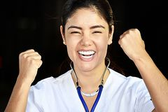 Enfermeira And Happiness de Latina Foto de Stock Royalty Free