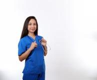 Enfermeira Holding Stethoscope Fotografia de Stock Royalty Free