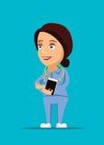 Enfermeira & ilustração amigável do doutor dos cuidados médicos com ícone do estetoscópio imagem de stock