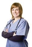 Enfermeira isolada no branco Imagens de Stock