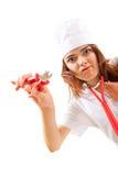 A enfermeira louca com tosquiadeiras quer à disposicão cortar Imagens de Stock