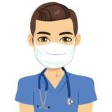 Enfermeira Male da máscara ilustração royalty free