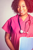 Enfermeira preta bonita imagem de stock