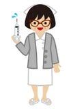 Enfermeira que guarda a seringa - adulto maduro ilustração do vetor