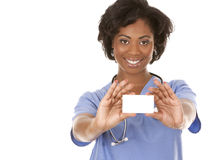 Enfermeira que guardara o cartão Imagens de Stock Royalty Free