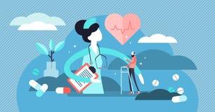 Enfermeira Vetora Illustration Conceito minúsculo liso das pessoas da ocupação da ajuda médica ilustração royalty free