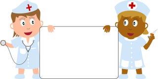 Enfermeiras e bandeira Fotos de Stock