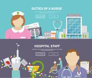 Enfermera Banner Set Fotografía de archivo libre de regalías