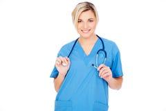 Enfermera cómoda en uniforme Imagenes de archivo