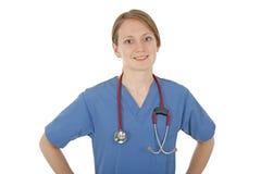 Enfermera cómoda sonriente Foto de archivo libre de regalías