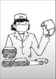 Enfermera con la mascarilla stock de ilustración