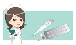 Enfermera con las medicinas Termómetro y píldoras, cápsula Foto de archivo