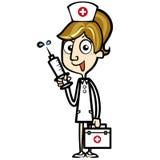 Enfermera de la historieta con el equipo y la jeringuilla de los primeros auxilios Imagen de archivo