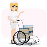 Enfermera de la historieta con la silla de ruedas Fotografía de archivo libre de regalías